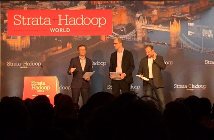 Roger Magoulas (O'Reilly Media), Doug Cutting (Cloudera), Alistair Croll (Solve For Interesting) bei der Eröffnung der Strata+Hadoop World