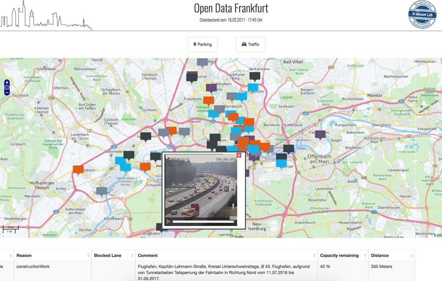 So sieht Smart City aus: ein mit Echtzeitdaten gefülltes Dashboard zeigt den aktuellen Verkehrsfluss im Großraum Frankfurt an.