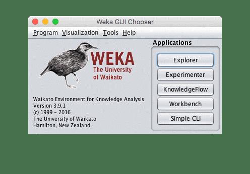 Das Startfenster von Weka